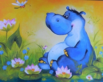 original acrylic painting Hippo ooak art painting on canvas nursery art kids room art cute painting