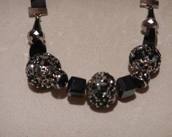 Black Beaded Ribbon Necklace