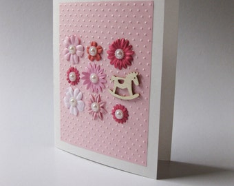 Baby card, card for a girl, pink card, baby girl, baby shower gift, handmade card, embossed paper, paper flowers, baby expecting card