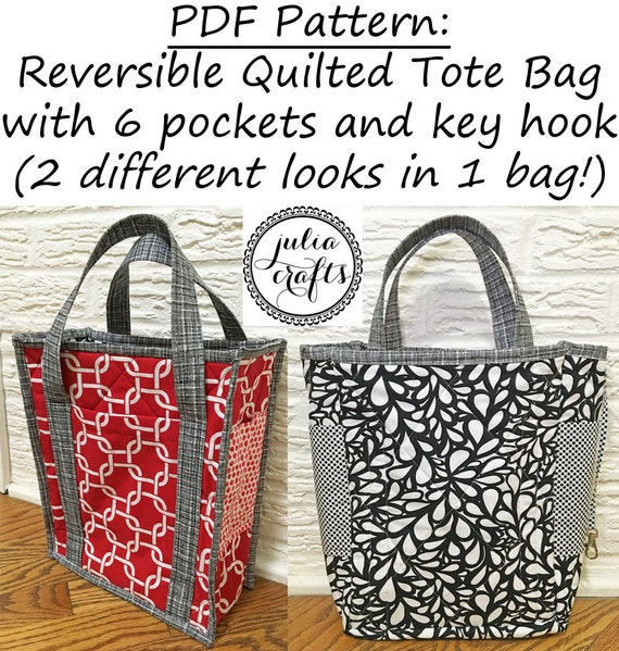 Pdf Pattern Reversible Quilted Tote Bag With 6 By Juliacrafts1