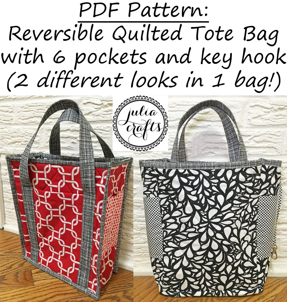Quilting Purse Patterns Free : PDF Pattern Reversible Quilted Tote Bag with 6 by JuliaCrafts1