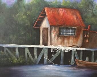 Crab shack acrylic painting on 16x20