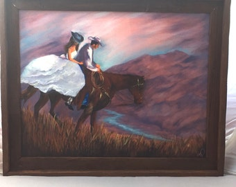 cowboy and cowgirl on a horse after their wedding oil painting, painted in 2014.