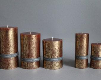 CINNABUNS (CINNAMON) & gold foil pillar candle handmade solid colours in 5 sizes