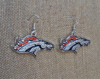 Denver Broncos Earrings, Broncos Women, Football Jewelry, Earrings, Oversized Earrings, Broncos Jewelry, Football Bling, Denver Broncos Gift