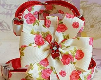 Rose bow dog harness