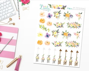 NEW! Boho Blossoms - Planner Stickers - S019