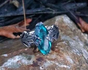 Blue Rhinestone Silver Adjustable Ring