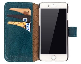 iPhone 6 Wallet Case, iPhone 6S Leather Case, 6S Best Leather Wallet Case, Perfect for 3+ Cards and Cash, in Blue