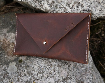 Classic Leather Envelope Clutch, Brown Leather Clutch, Dark brown Leather Clutch, Small Leather Clutch