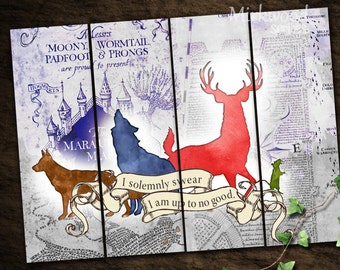Harry Potter Bookmarks | The Marauders Bookmarks |  Moony, Wormtail, Padfoot & Prongs |  Marauder's Map | Instant download Printable