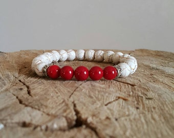 Ivory howlite with red beads 8mm