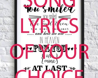Any Song Lyrics Designed Especially For You Personalised Service