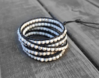 White Agate Leather Bracelet Agate Wrap Bracelet White Beads Bracelet Leather Wrap Bracelet Gift For Her Bridesmaid Bracelet