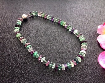 Knotted Natural Rainbow Fluorite 12MM Rondelle Beaded Necklace