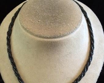 Vintage Black Glass beaded Twisted Designed Necklace