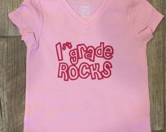 Back to school T-shirt, 1st Grade Rocks shirt, custom / any grade on shirt
