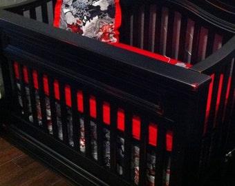 Custom Made Red Black White Rocker Crib Set