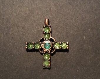 Vintage cira 1900's Green Rhinestones Bronze Cross