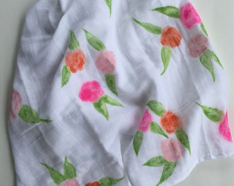 Watercolor Roses Swaddle Blanket