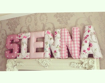 Fabric letters etsy for Fabric covered letters for nursery