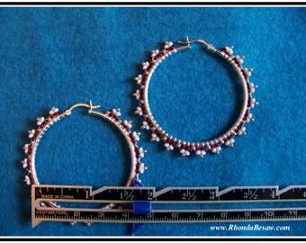 sterling silver hoop earrings hand beaded glass seed beads