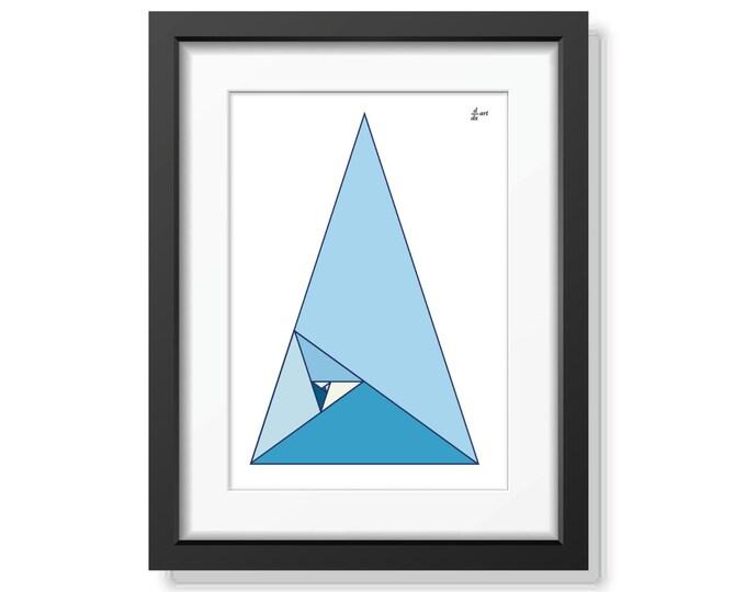 Fibonacci triangles 09 [mathematical abstract art print, unframed] A4/A3 sizes