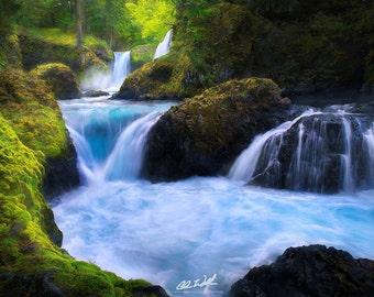 Turquoise Euphoria, waterfall, waterfalls, washington, wall art, landscape, photography, photo, nature, photo, print,