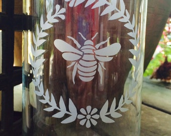 Candle Holder ~ Glass candle holder ~ Sandblasted with a bee