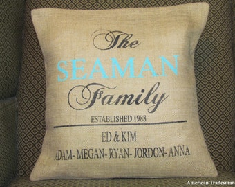 Burlap Pillow- Personalized, Family Last Name, Year Established Date, Children's Names, Family Pillow