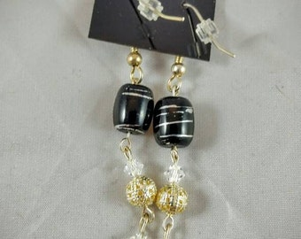 Black, Gold, Silver Dangle Earrings with Clear Swarovski Crystals