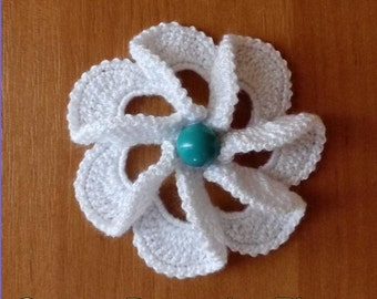 Сrochet brooch -Coton Brooch - White brooch - Flower Brooch - Knitted Brooch Hand-Knitted
