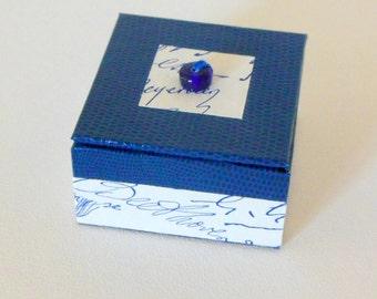 BOX ring - blue and Ecru