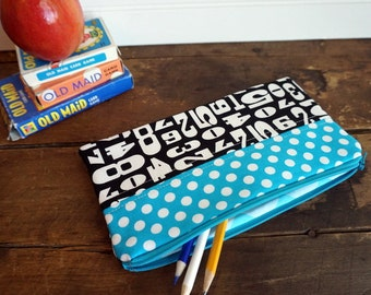 Make-up or Pencil Bag, Rectangle Zipper Bag, Black Numbers and Dots