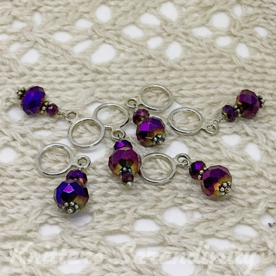 Stitch Markers for Knitting, Plum Wine Stitch Markers, Glass Bead Stitch Mark...