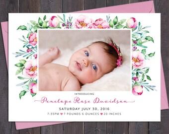 Floral birth announcement, photo, baby girl, pink roses, peonies, leaves, digital customised printable