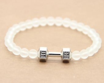 Glass beaded barbell bracelet