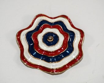 Vintage Red White and Blue Marvella Brooch Pin 9185