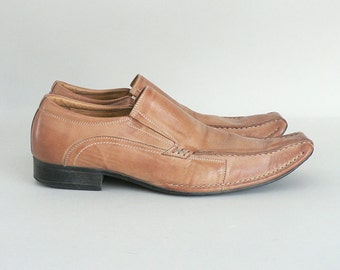 Mens Square Toe Loafer Size 11.5 In Tan Leather