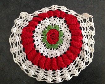 Crocheted Doily Crochet Hand Crafted Sewing Red White Green Furniture Pot Pad