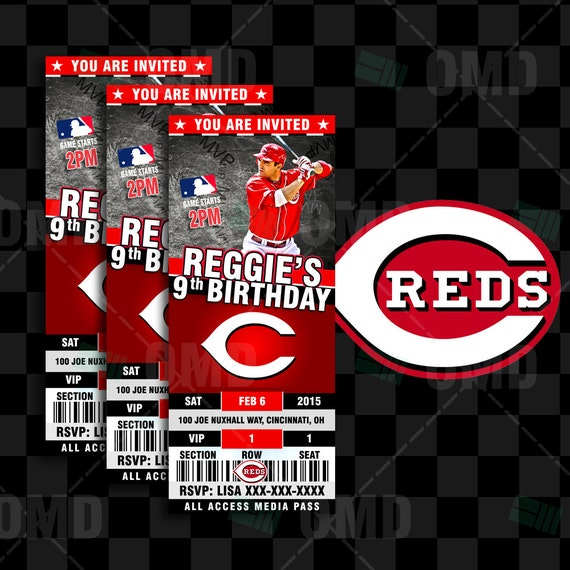 2.5x6 Cincinnati Reds Baseball Sports Party By Sportsinvites