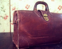 Vintage 1930s Cowhide Leather Business Case + Keys