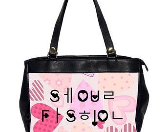 Seoul Fashion Hangul x English / Tokyo Fashion Hiragana x English Hearts Oversized Bag