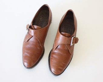 size 37 brown leather slip on buckle shoes