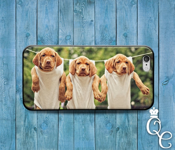 iPhone 4 4s 5 5s 5c SE 6 6s 7 plus iPod Touch 4th 5th 6th Generation Cute Puppies Puppy Dog Clothes Pin Line Adorable Funny Girl Case Cover
