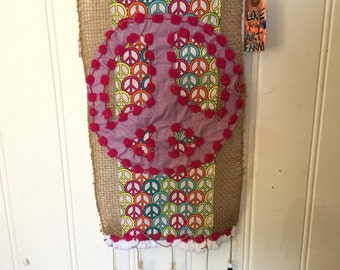 Peace sign yarn bombed burlap wall hanging, prayer flags, wall decoration, peace sign yarn and burlap flag, peace banner, peace flag