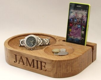 Mobile phone stand and charging station with watch stand option - ideal personalised gift for him -