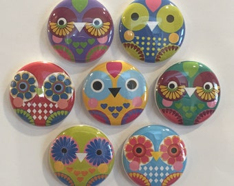 Artsy Owl Magnets - set of 7