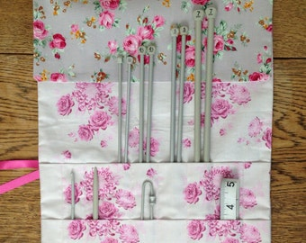 Knitting needle roll, floral knitting needle case, knitting supplies, Mother's Day gift, crafting gift