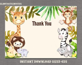 Jungle Thank You Card Printable, Digital file, Instant Download, Safari Thank you Card, Baby Shower Thank You Card, Jungle, Safari, DIY